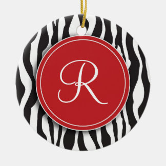 Girly Red Monogram Zebra Print Ornament