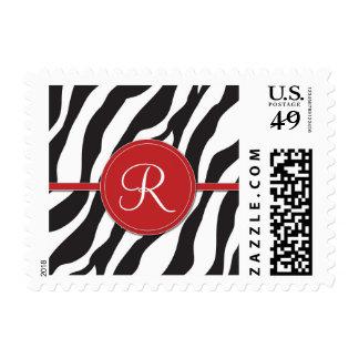 Girly Red Monogram Zebra Print Postage