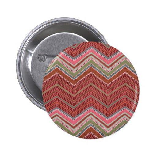 Girly Red Pink Zigzag Pattern 2 Inch Round Button