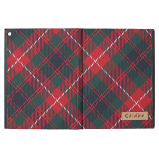 Girly Red Royal Stewart Tartan Pattern Custom Name iPad Pro Case
