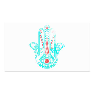 Girly red teal watercolor Hamsa Hand of Fatima Double-Sided Standard Business Cards (Pack Of 100)