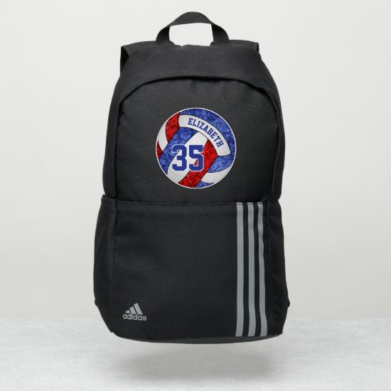 girly red white blue sporty volleyball adidas backpack