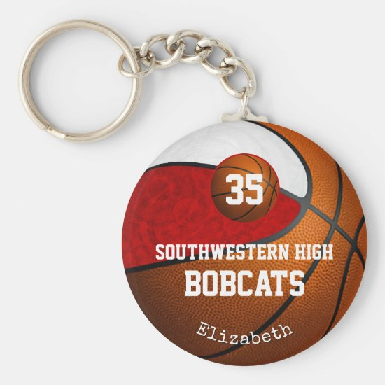 Girly red white school team colors basketball keychain