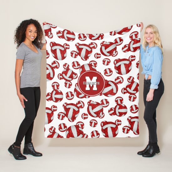 girly red white team colors volleyball room decor fleece blanket