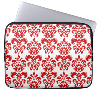 Girly Red White Vintage Damask Pattern 2 Computer Sleeve