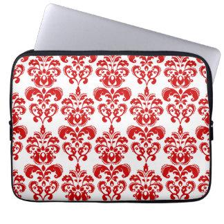 Girly Red White Vintage Damask Pattern 2 Laptop Sleeves