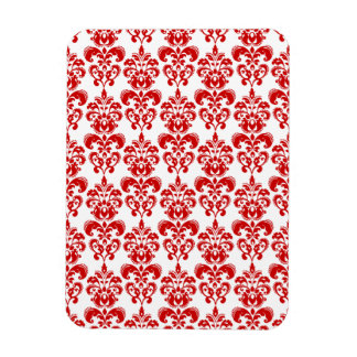 Girly Red White Vintage Damask Pattern 2 Rectangle Magnets