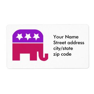 Girly Republican Personalized Shipping Label