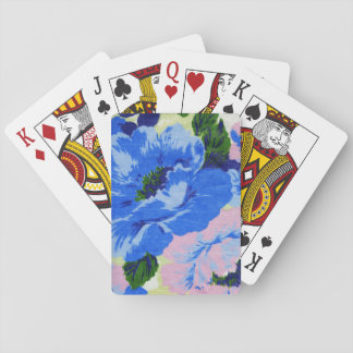 Girly Retro Blue and Pink Pretty Floral Playing Cards