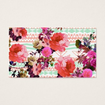 Aztec Themed Girly Retro Floral Pink Mint Green Aztec Pattern Business Card
