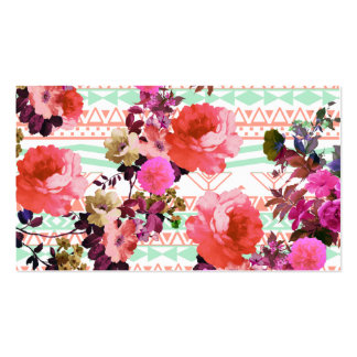 Girly Retro Floral Pink Mint Green Aztec Pattern Double-Sided Standard Business Cards (Pack Of 100)