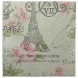Girly retro floral vintage Paris fashion Cloth Napkins