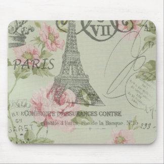 Girly retro floral vintage Paris fashion Mousepads