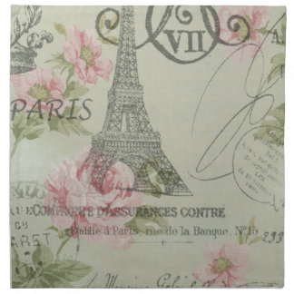 Girly retro floral vintage Paris fashion Napkin