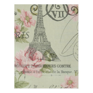 Girly retro floral vintage Paris fashion Post Cards
