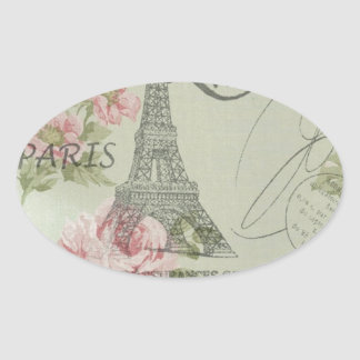 Girly retro floral vintage Paris fashion Oval Stickers