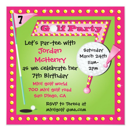 Girly Retro Miniature Golf Party Invitation