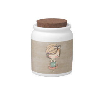Girly Retro MOD Girl Ballerina Candy Jar
