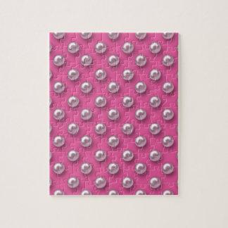 Girly Retro Pearls Jigsaw Puzzle