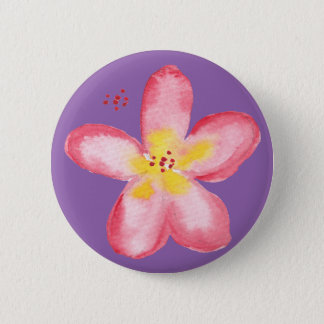 Girly Retro Pink Tropical Flower on Purple Button