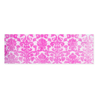 Girly Retro Pink Vintage Floral Damask Pattern Double-Sided Mini Business Cards (Pack Of 20)