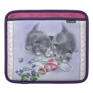 Girly Retro Sassy Sissy Vintage Kittens Floral iPad Sleeve