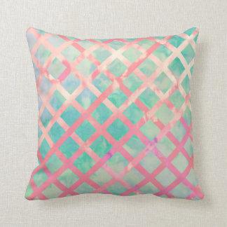 Girly Retro Turquoise Pink Watercolor Lattice Throw Pillow