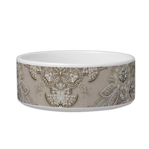 girly Rhinestone lace pearl glamorous Cat Bowls