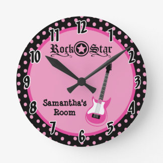 Girly Rock Star Pink Guitar Personalized Clock