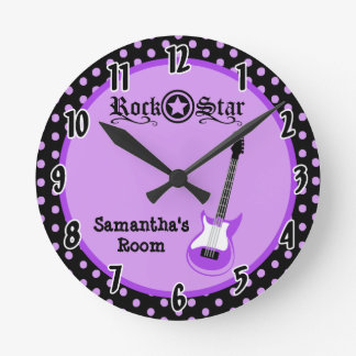 Girly Rock Star Purple Guitar Personalized Clock