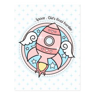 Girly Rocketship Post Cards