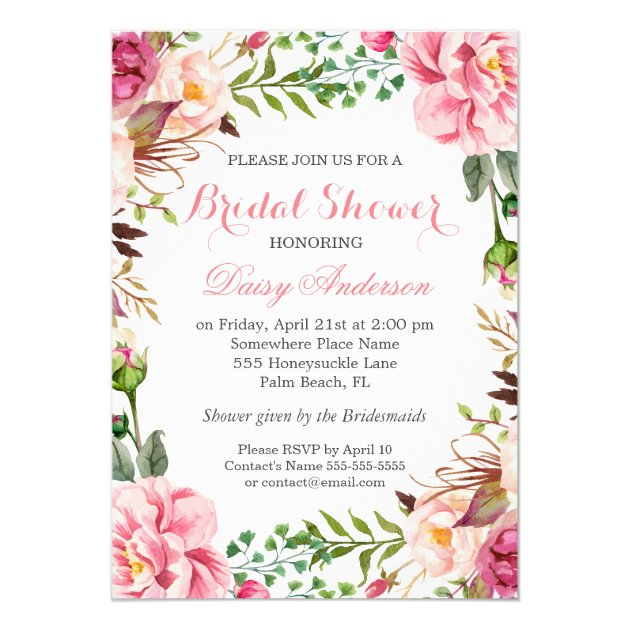 Girly Romantic Floral Wrap Wedding Bridal Shower 5x7 Paper Invitation Card