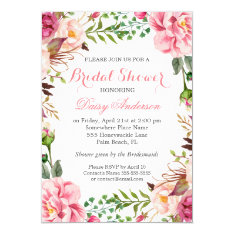 Girly Romantic Floral Wrap Wedding Bridal Shower Card at Zazzle