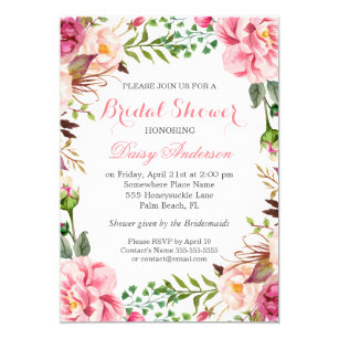 Romantic bridal shower invitations announcements zazzle girly romantic floral wrap wedding bridal shower card filmwisefo Choice Image