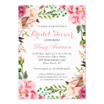 Girly Romantic Floral Wrap Wedding Bridal Shower Invitation