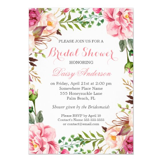 girly romantic floral wrap wedding bridal shower invitation
