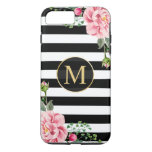 Girly Romantic Flower Black White Stripes Monogram Iphone 7 Plus Case at Zazzle