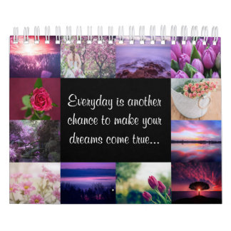 Girly romantic flowers & landscapes in pink purple calendar