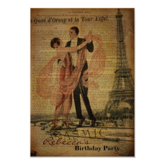 Girly romantic paris french vintage birthday party 3.5x5 paper invitation card