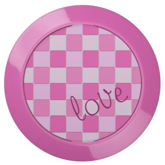 Girly Romantic Pink Woven Tiles with Love