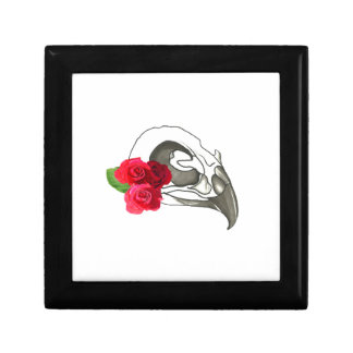 GIRLY ROMANTIC RED ROSES WITH BIRD SKULL GIFT BOX