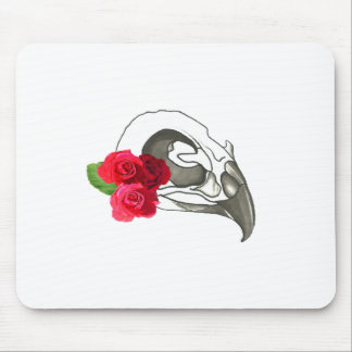 GIRLY ROMANTIC RED ROSES WITH BIRD SKULL MOUSE PAD