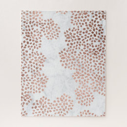 Girly rose gold abstract polka dots white marble jigsaw puzzle