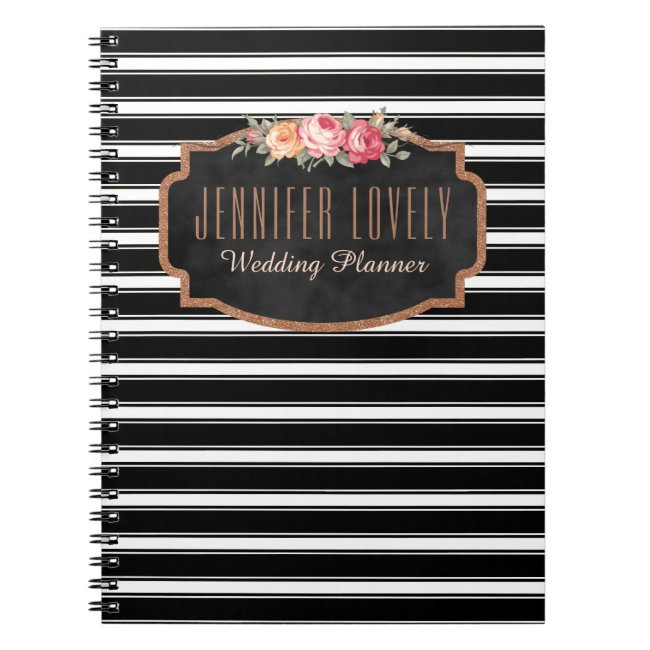 Girly Rose Gold B&W Stripes | Your Name Monogram Notebook