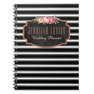 Girly Rose Gold B&W Stripes | Your Name Monogram Spiral Notebook