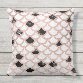 Girly rose gold black white marble scallop pattern outdoor pillow