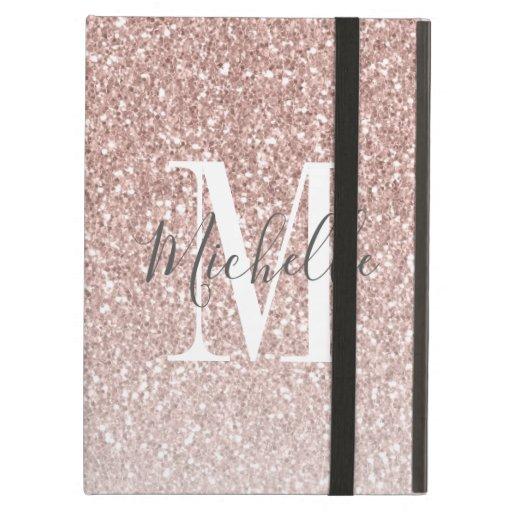 Girly Rose Gold Blush Pink Glitter Monogram Name Case For iPad Air