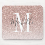 "Girly Rose Gold Blush Pink Glitter Monogram Name Mouse Pad<br><div class=""desc"">Personalized Rose Gold Pink Glitter White Monogram Script Name. Elke Clarke &#169; Customize it with your name and monogram for a chic girly unique design.</div>"