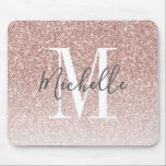 "Girly Rose Gold Blush Pink Glitter Monogram Name Mouse Pad<br><div class=""desc"">Personalized Rose Gold Pink Glitter White Monogram Script Name. Elke Clarke © Customize it with your name and monogram for a chic girly unique design.</div>"