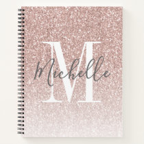 Girly Rose Gold Blush Pink Glitter Monogram Name Notebook